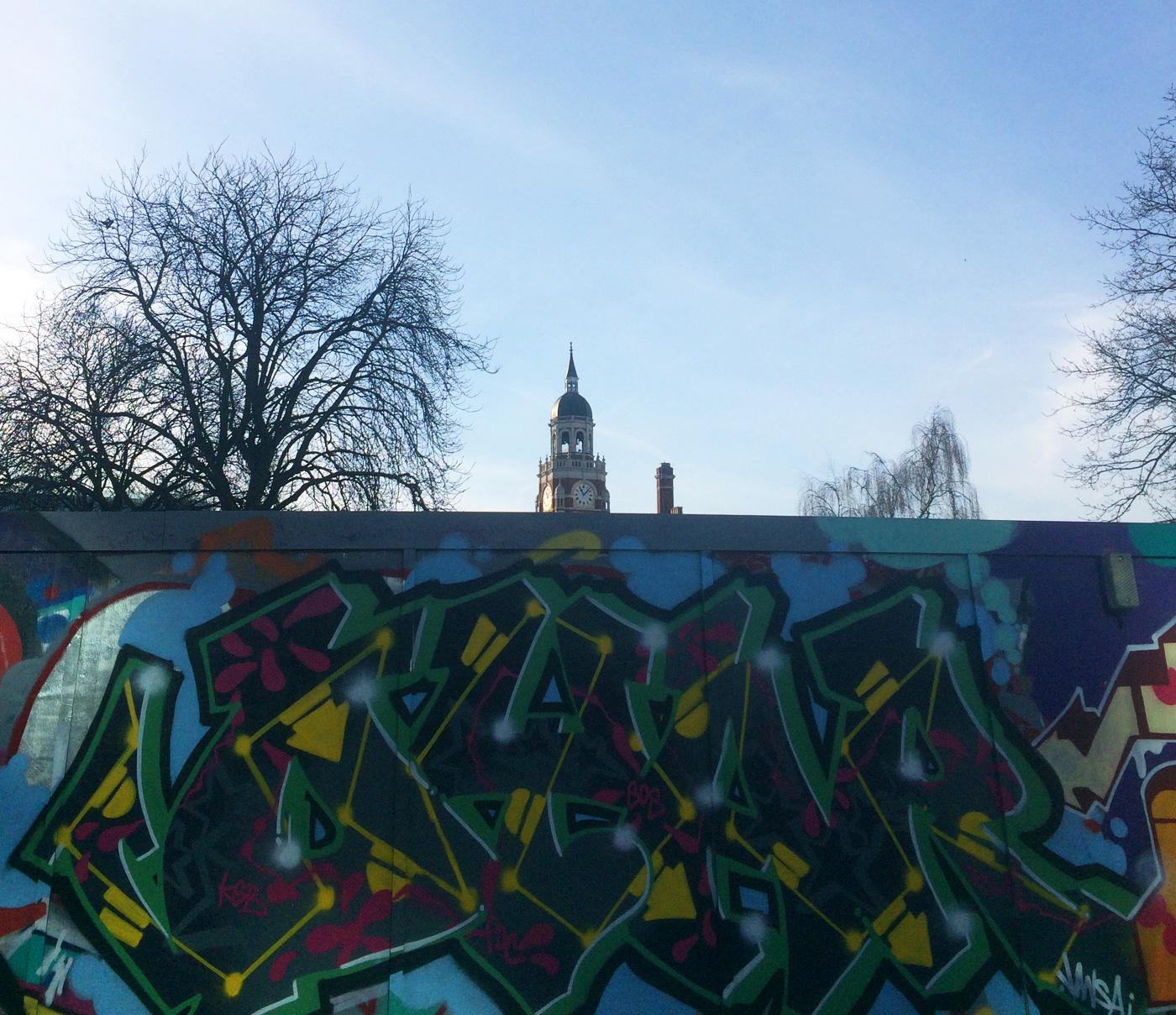 Legal graffiti wall, Queen's Gardens, Croydon