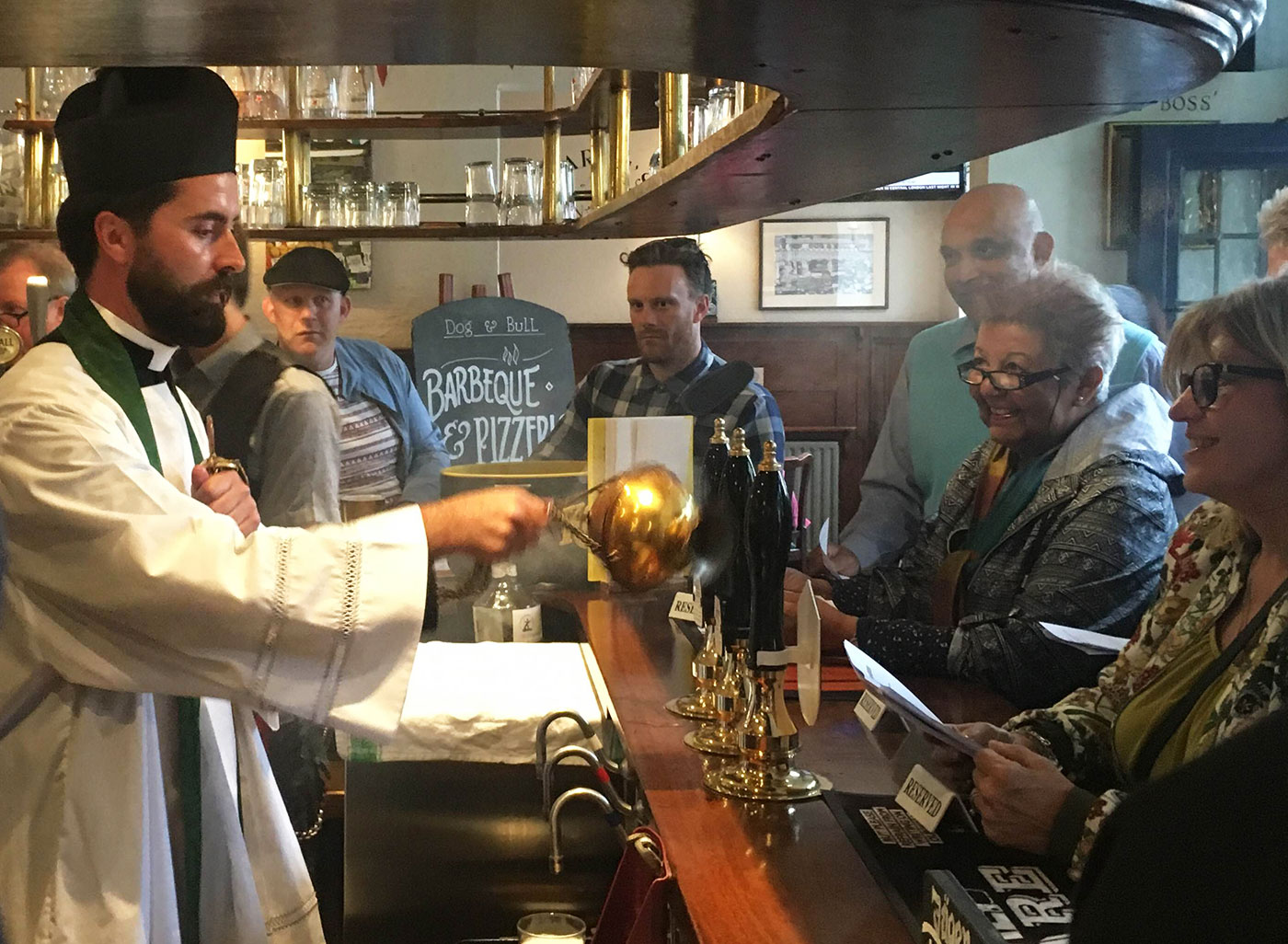 Blessing the beer, Dog & Bull, Croydon